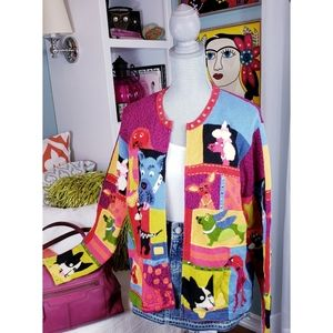 Susan Bristol Beaded, Studded Dog Cardigan Sweater